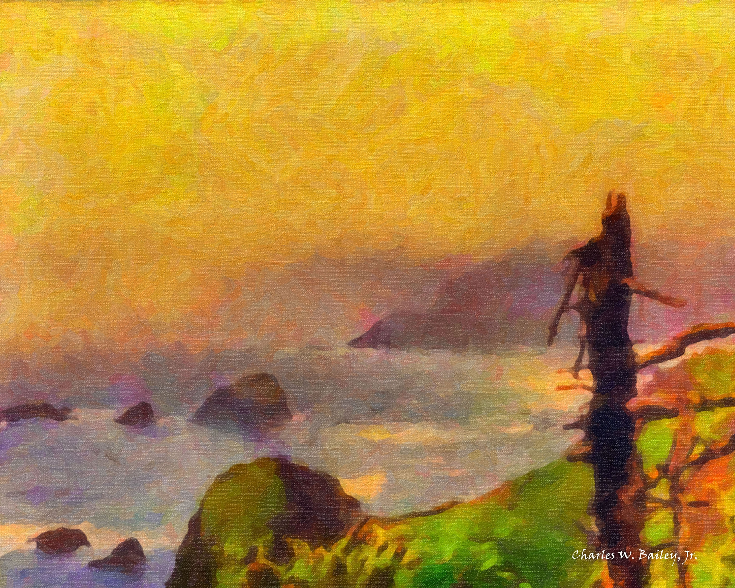 Digital Oil Painting of the Coastline Near Cannon Beach, Oregon