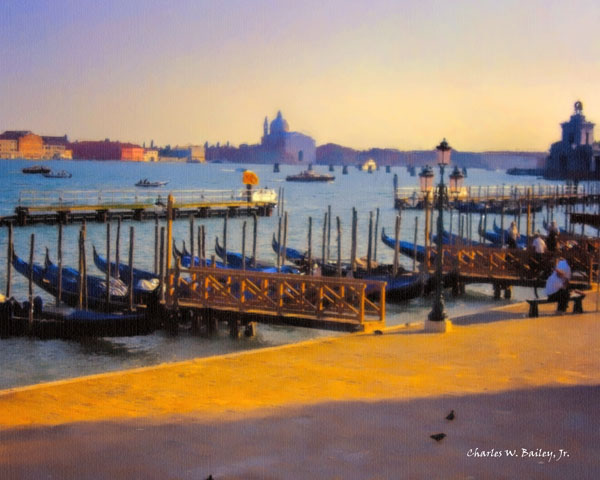 Digital Oil Pastel Drawing of Docked Gondolas Near the Piazza San Marco in Venice by Charles W. Bailey, Jr.