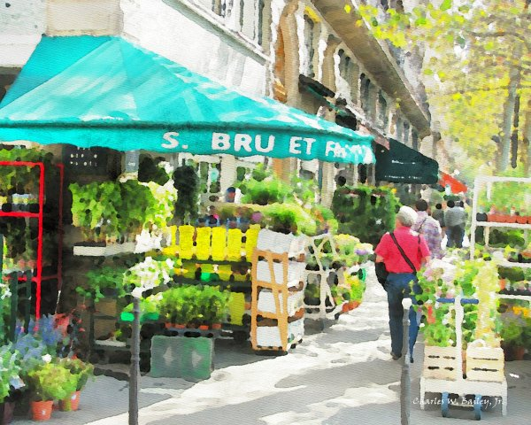 Digital Watercolor Painting of a Flower Stall on the Right Bank of the Seine in Paris, France