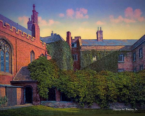 Digital Oil Painting of Queens' College Cloister, University of Cambridge by Charles W. Bailey, Jr.