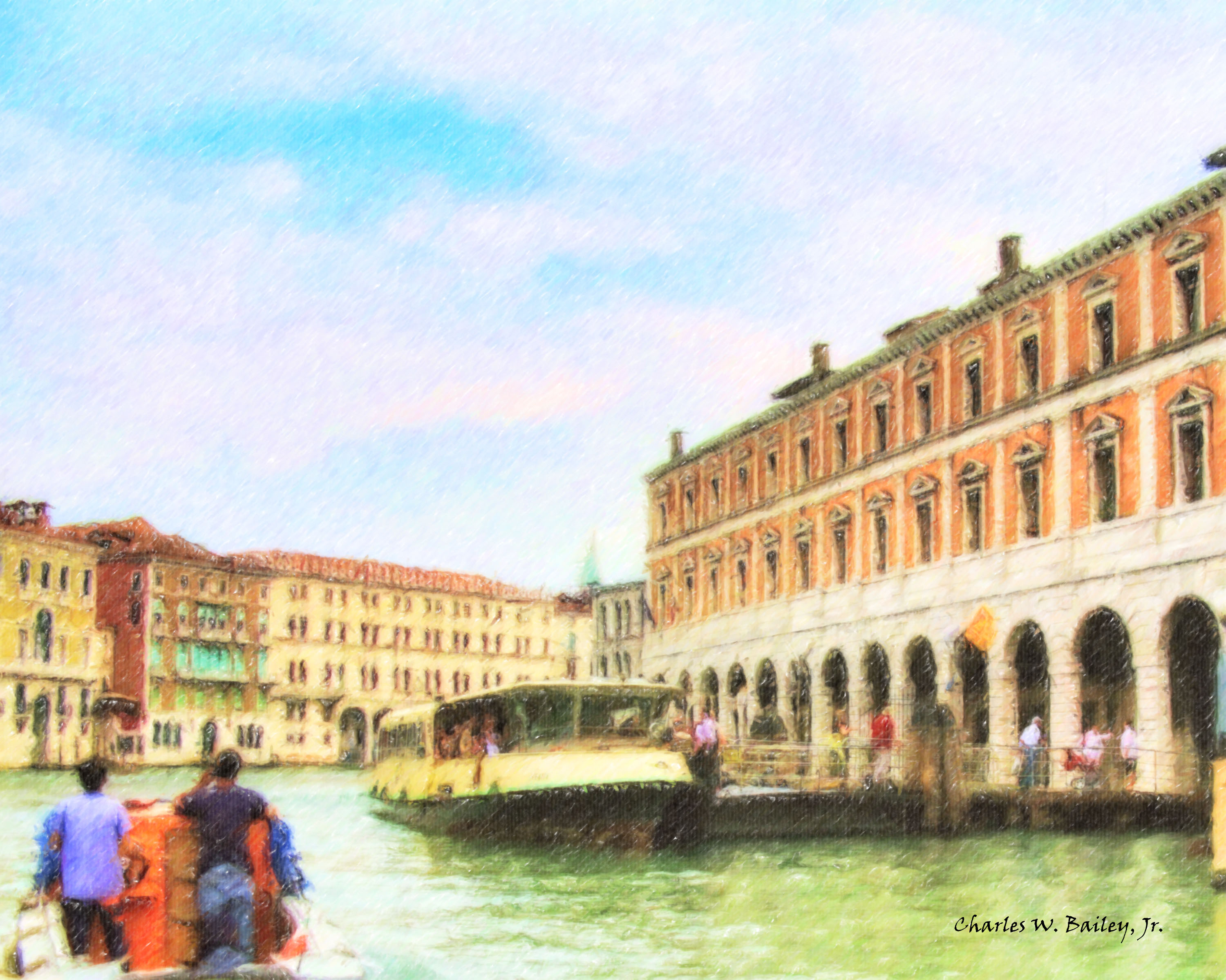 Digital Color Pencil Drawing Of A Vaporetto On The Grand Canal In Venice